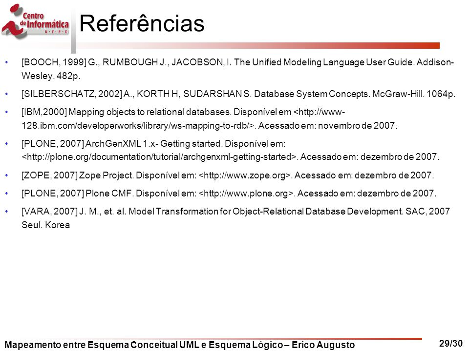 Referências [BOOCH, 1999] G., RUMBOUGH J., JACOBSON, I. The Unified Modeling Language User Guide. Addison- Wesley. 482p.